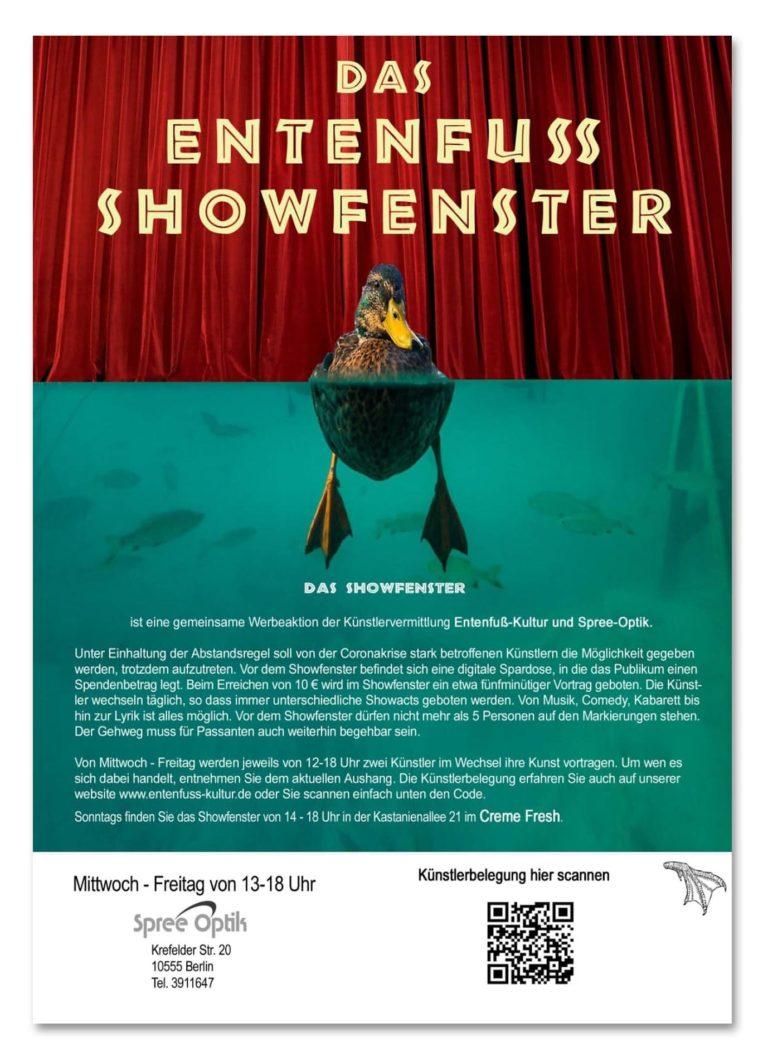 Berlin Spree Optik Moabit und Entenfuß Plakat zu Corona Showbuehne